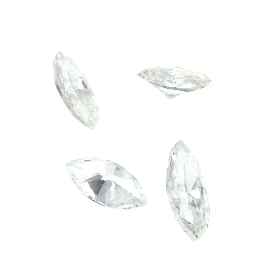 Six marquise shape diamonds weighing 0.34ct PLEASE NOTE THIS LOT WILL CARRY VAT AT 20% ON THE - Image 2 of 2