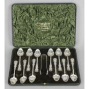 An attractive late Victorian cased set of twelve silver teaspoons,