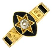 A late 19th century 18ct gold diamond and black enamel mourning ring, with hairwork accent band.