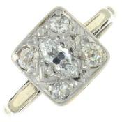 A vari-cut diamond cluster ring.Principal diamond estimated weight 0.20ct,