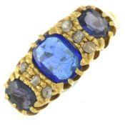An Edwardian 18ct gold blue garnet-top-doublet and diamond ring.Hallmarks for Birmingham,