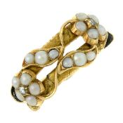 A late 19th century split pearl and diamond memorial ring.Band with hairwork accent.