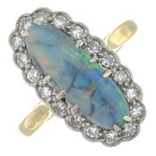 An early 20th century 18ct gold and platinum opal cabochon and single-cut diamond cluster ring.