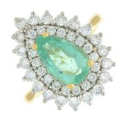 An 18ct gold emerald and brilliant-cut diamond pear-shape cluster ring.Emerald calculated weight