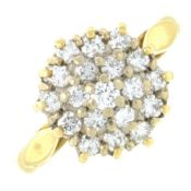 An 18ct gold brilliant-cut diamond cluster ring.Estimated total diamond weight 0.80ct.Hallmarks for