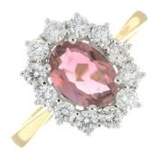 An 18ct gold pink tourmaline and brilliant-cut diamond cluster ring.Pink tourmaline 1.31cts.Diamond