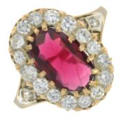 A red spinel and brilliant-cut diamond cluster ring.