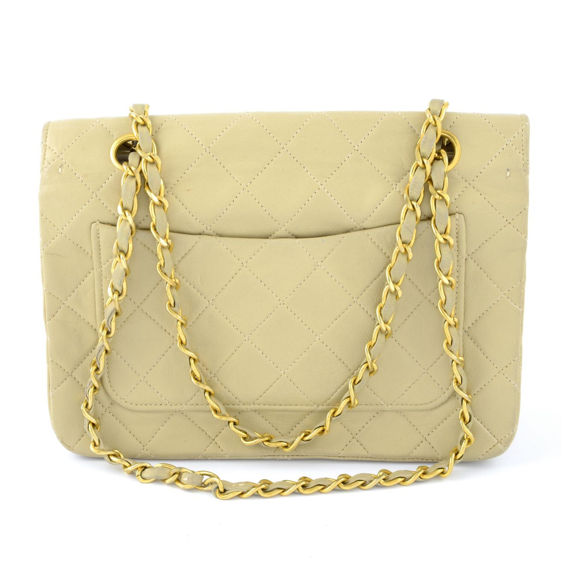 CHANEL - a nude vintage single flap handbag. - Image 2 of 5