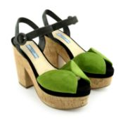 PRADA - a pair of suede platform sandals.