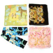 SALVATORE FERRAGAMO - four silk scarves.