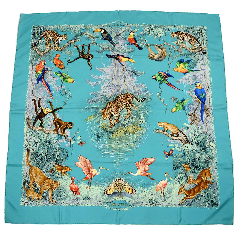 HERMÈS - an 'Équateur' silk scarf.