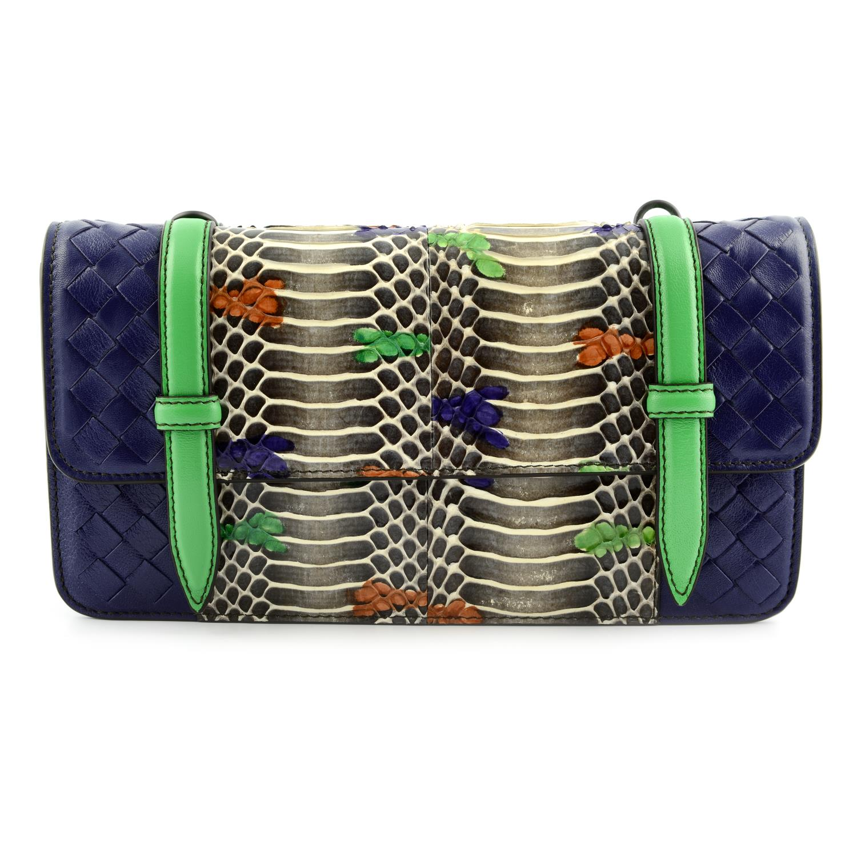 BOTTEGA VENETA - a multicolour Intrecciato leather and python baguette handbag.
