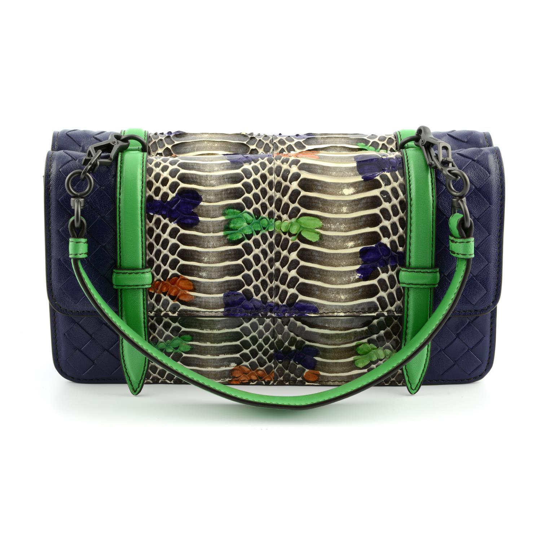 BOTTEGA VENETA - a multicolour Intrecciato leather and python baguette handbag. - Image 2 of 6