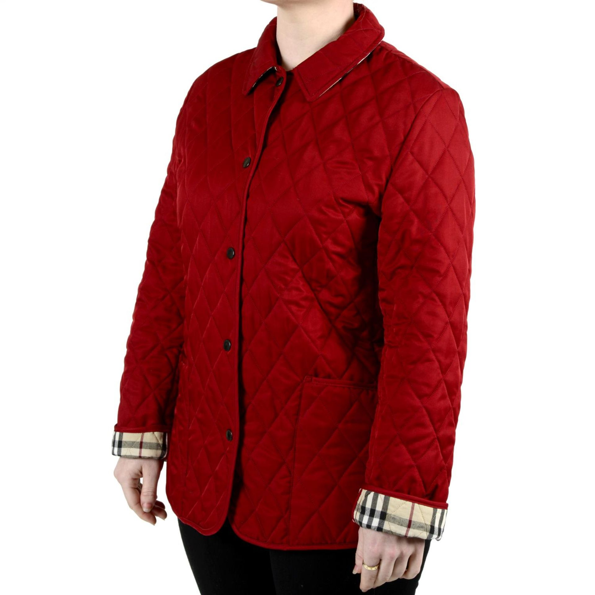 BURBERRY - a red quilted jacket. - Image 3 of 4