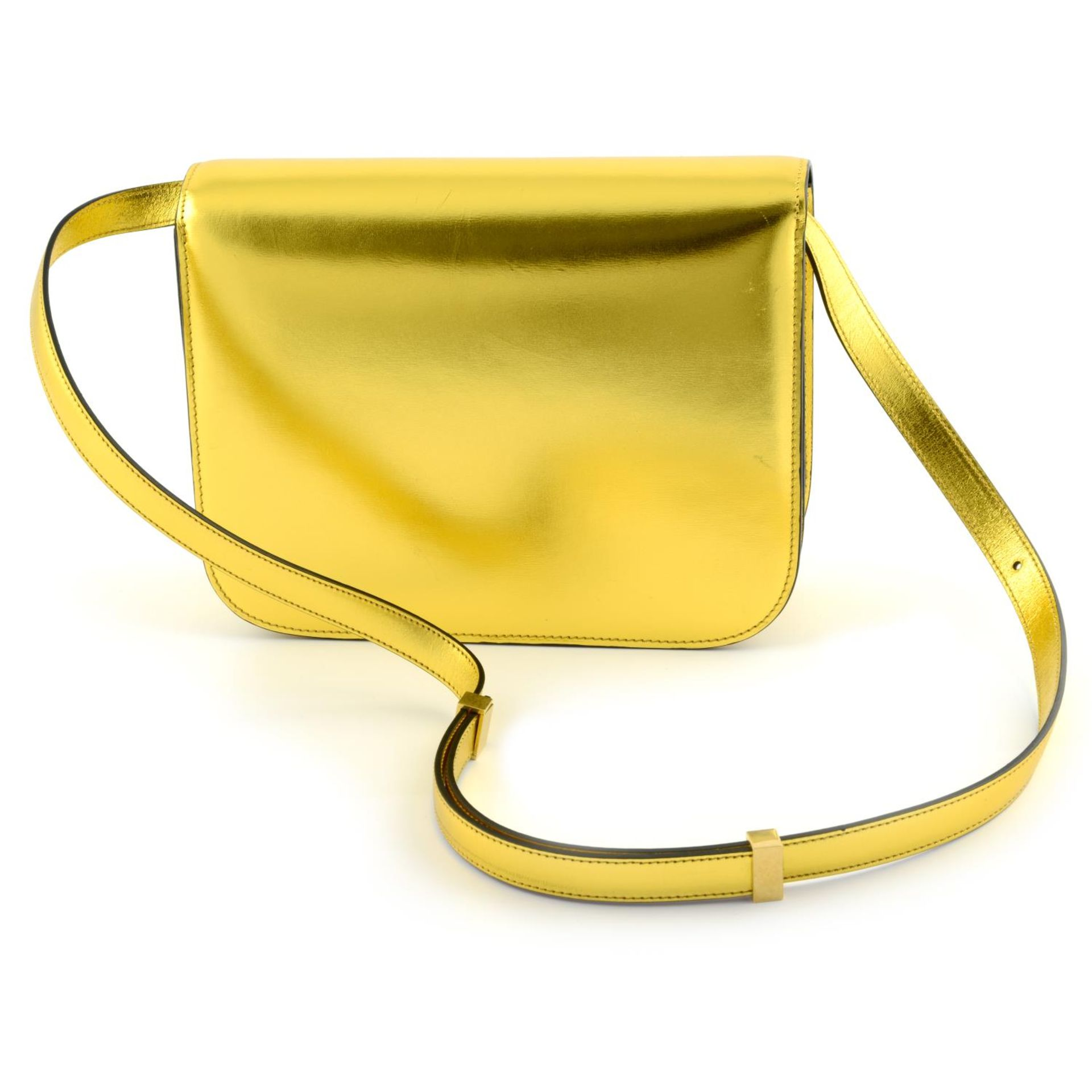CÉLINE - a metallic gold Box handbag. - Image 2 of 9