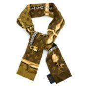 LOUIS VUITTON - a brown Monogram Confidential bandeau scarf.
