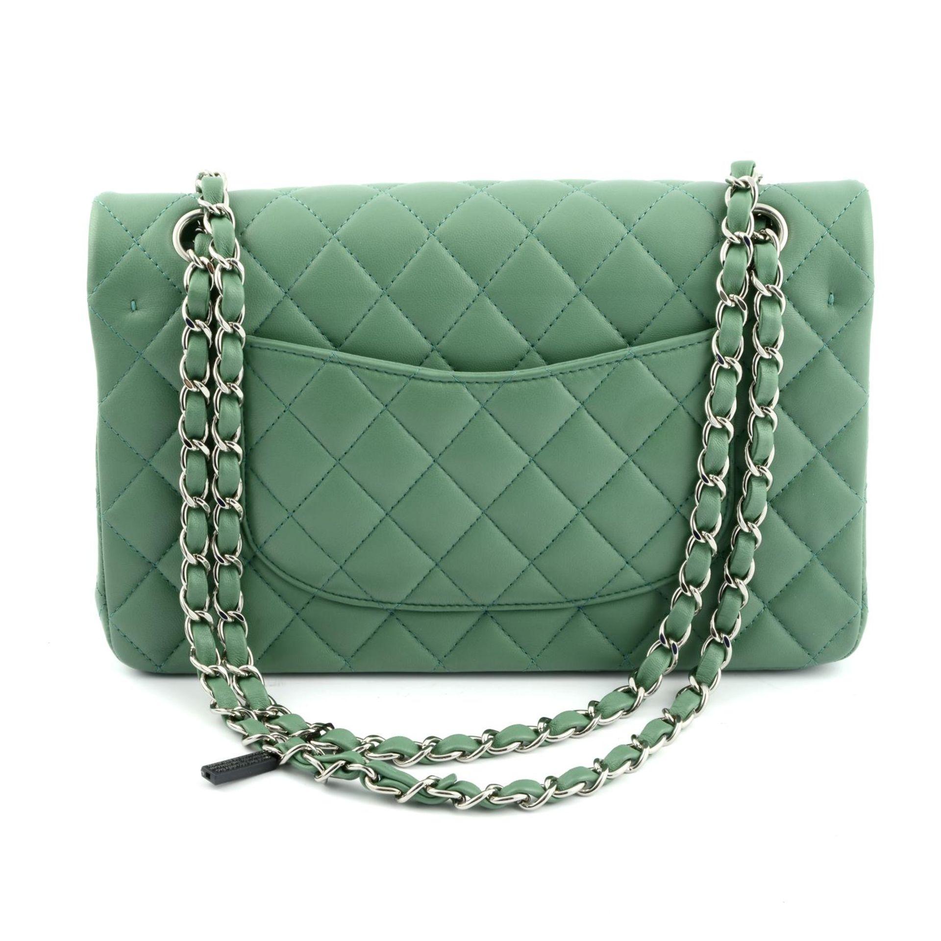 CHANEL - a green medium classic double flap handbag. - Image 2 of 7