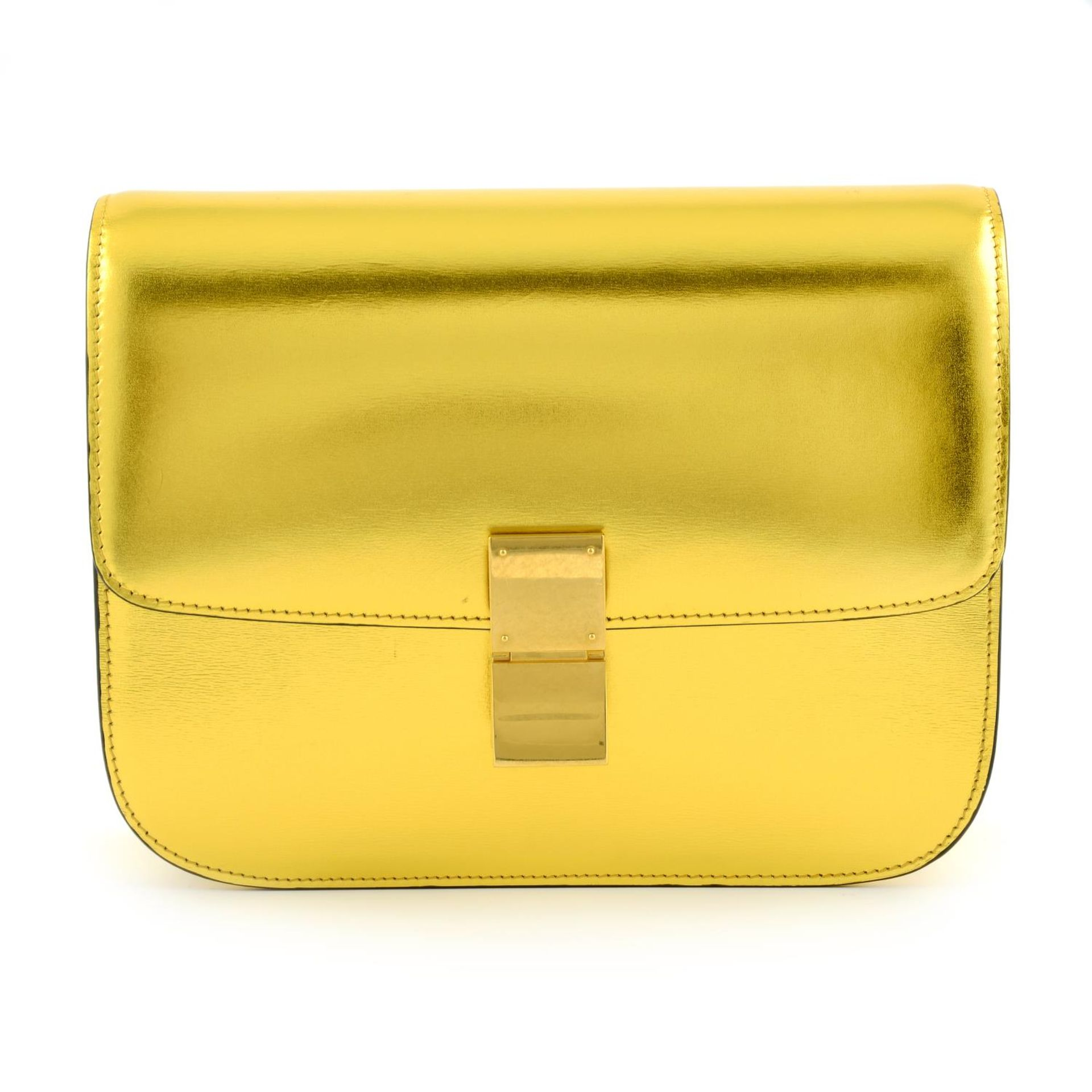 CÉLINE - a metallic gold Box handbag.