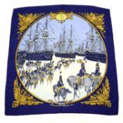 HERMÈS - a 'Marine et Cavalerie' silk scarf.