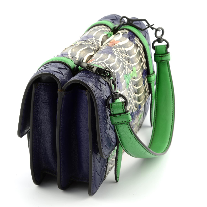 BOTTEGA VENETA - a multicolour Intrecciato leather and python baguette handbag. - Image 3 of 6