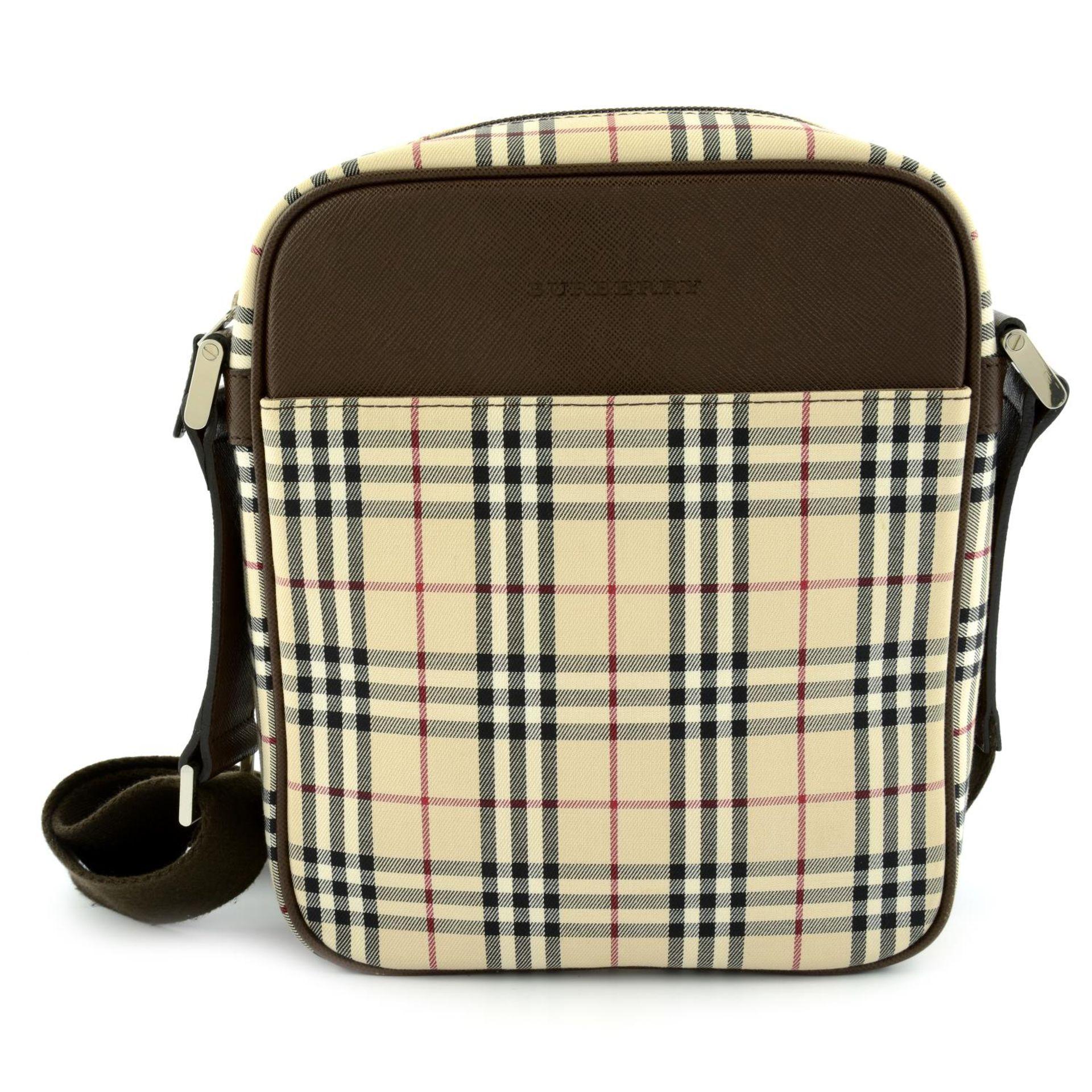 BURBERRY - a Nova Check crossbody messenger bag.