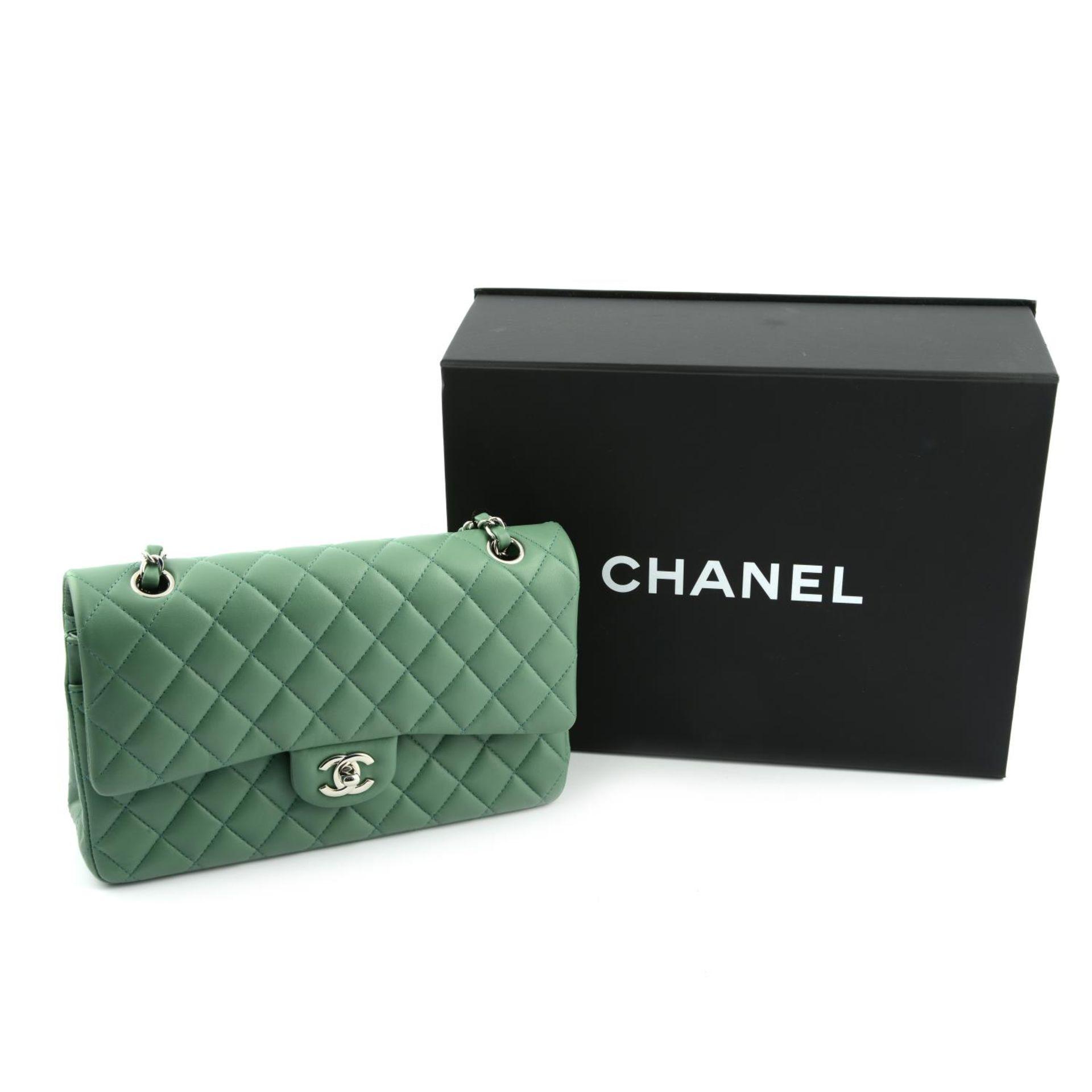 CHANEL - a green medium classic double flap handbag. - Image 7 of 7