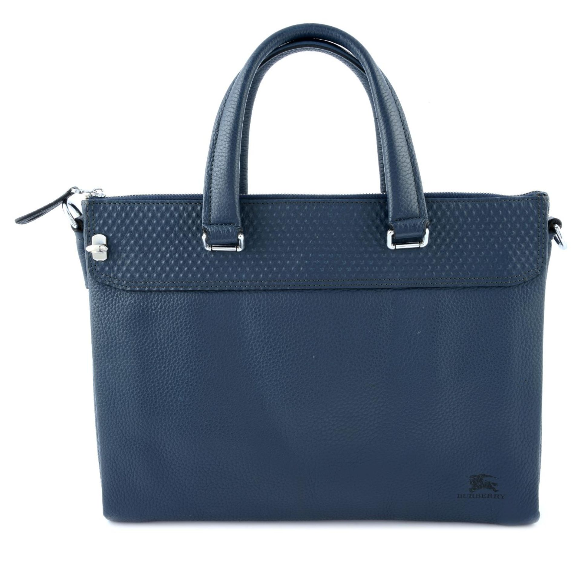 BURBERRY - a blue leather briefcase.