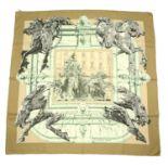 HERMÈS - a 'la Fontaine de Bartholdi' silk scarf.