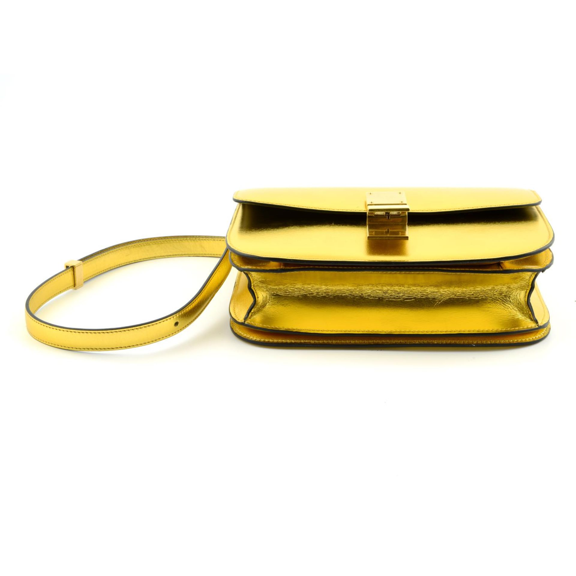 CÉLINE - a metallic gold Box handbag. - Image 5 of 9
