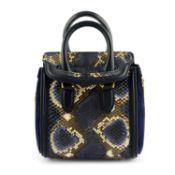 ALEXANDER MCQUEEN - a midnight blue python skin mini Heroine handbag.