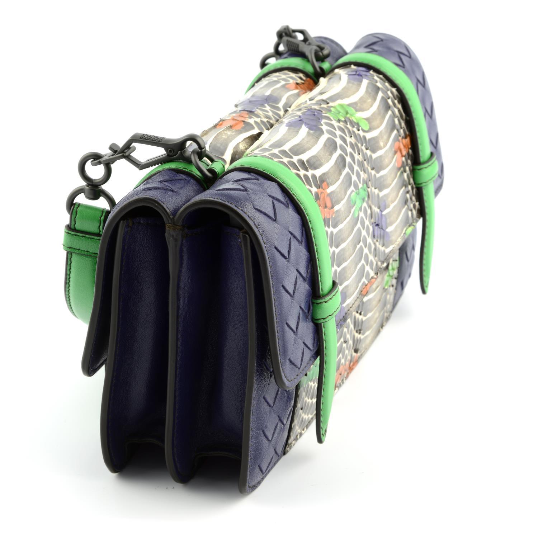 BOTTEGA VENETA - a multicolour Intrecciato leather and python baguette handbag. - Image 4 of 6
