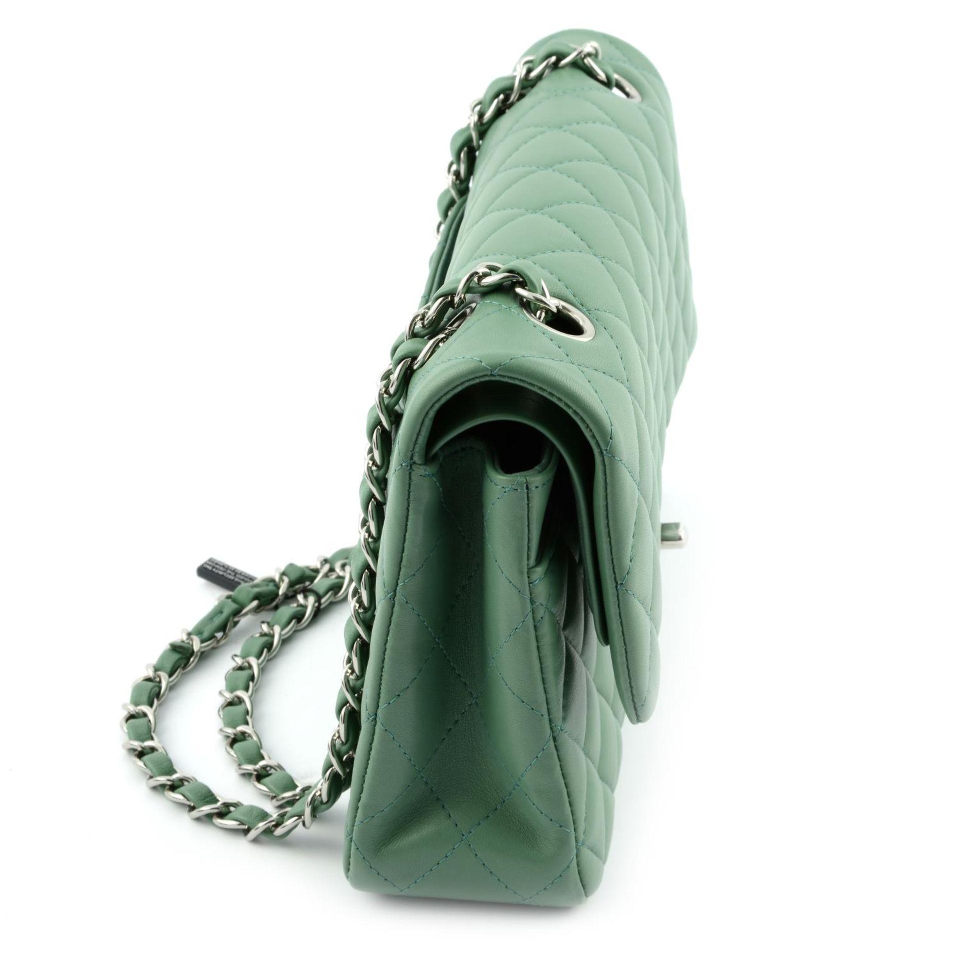 CHANEL - a green medium classic double flap handbag. - Image 4 of 7