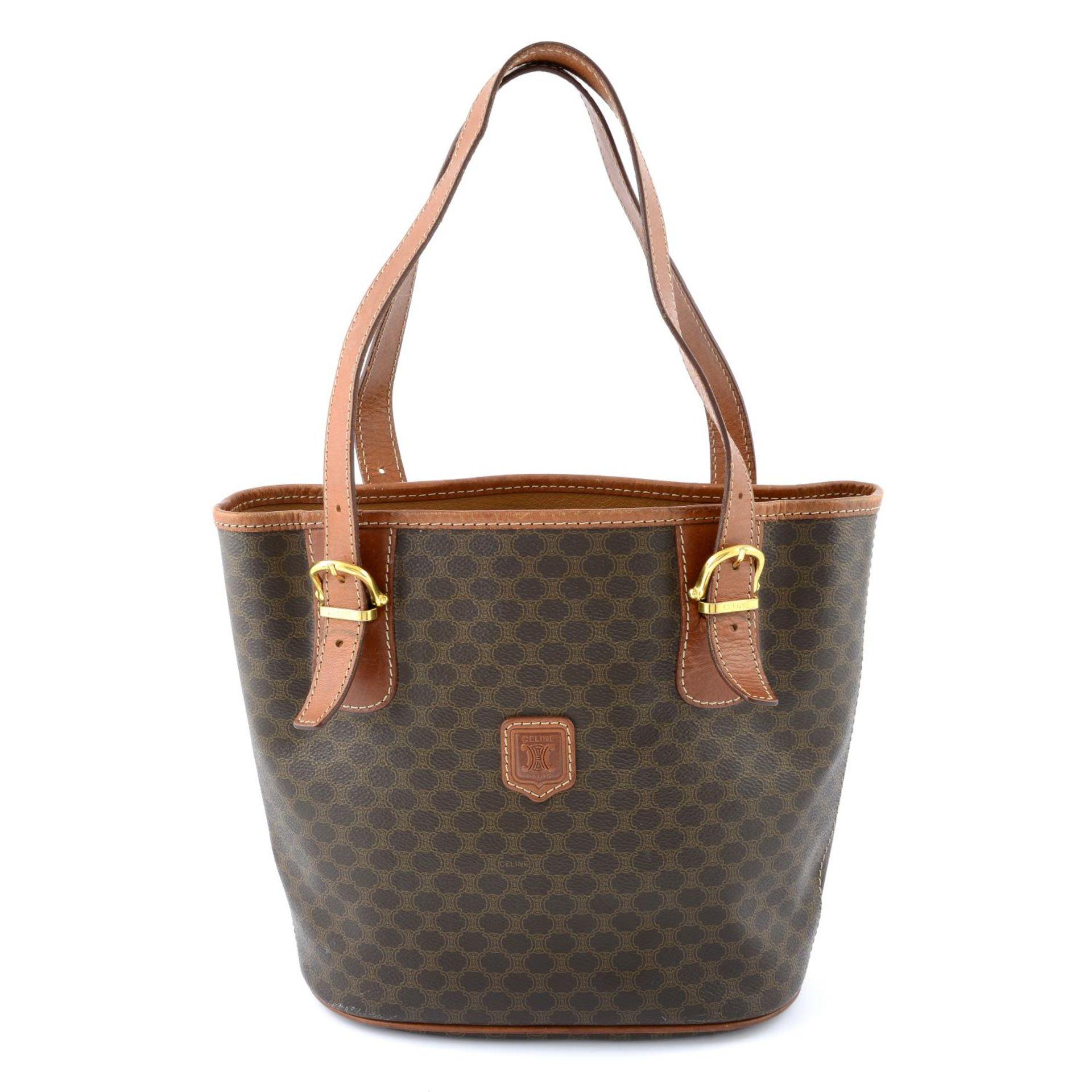 CÉLINE - a Macadam coated canvas handbag.
