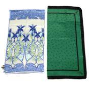 Two designer silk scarves.
