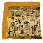 SALVATORE FERRAGAMO - a colourful printed silk scarf.