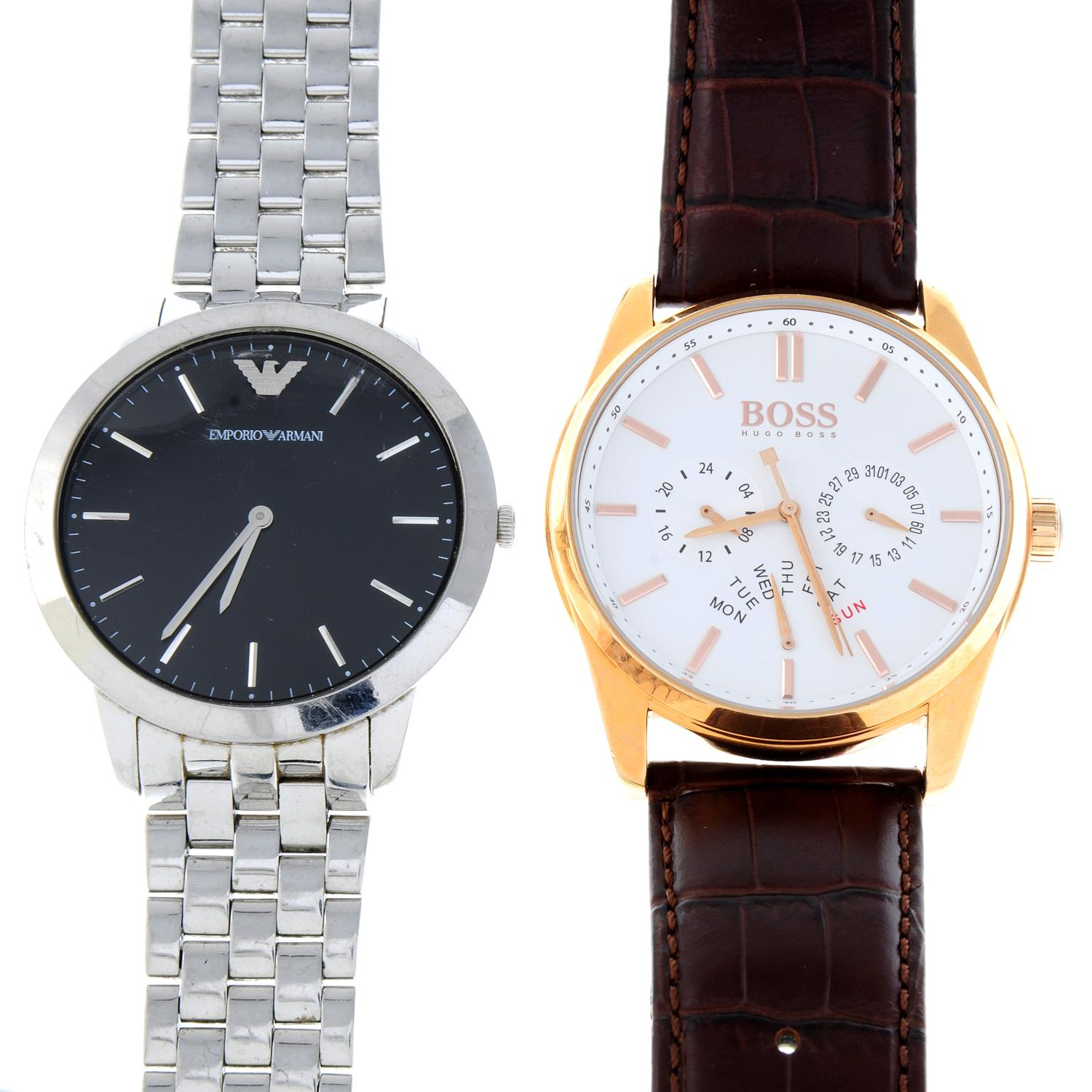 A bag of assorted watches, to include examples by Boss and Emporio Armani.