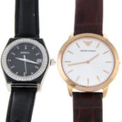 A bag of assorted watches, to include examples by Emporio Armani and Seiko.