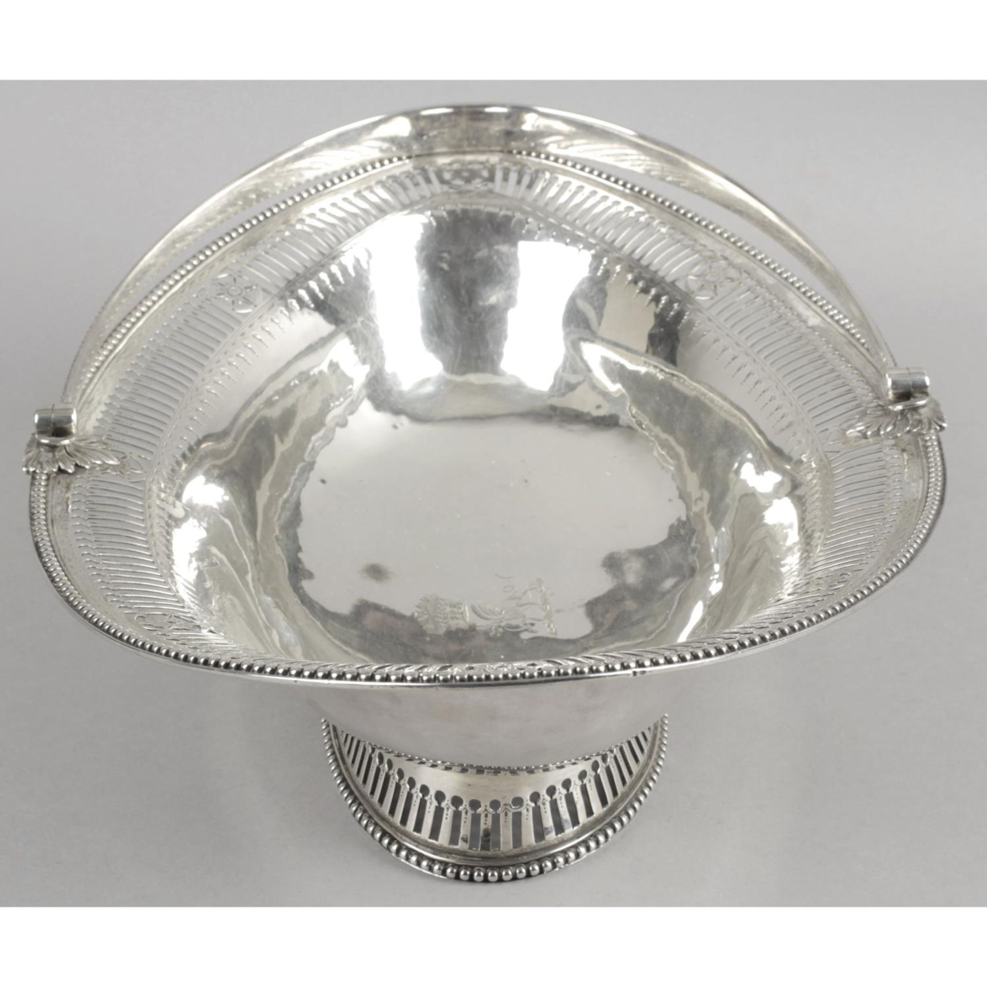 A George III silver swing-handled cake basket, - Image 3 of 6