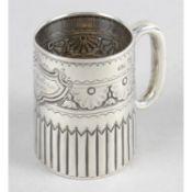 A late Victorian silver christening mug,