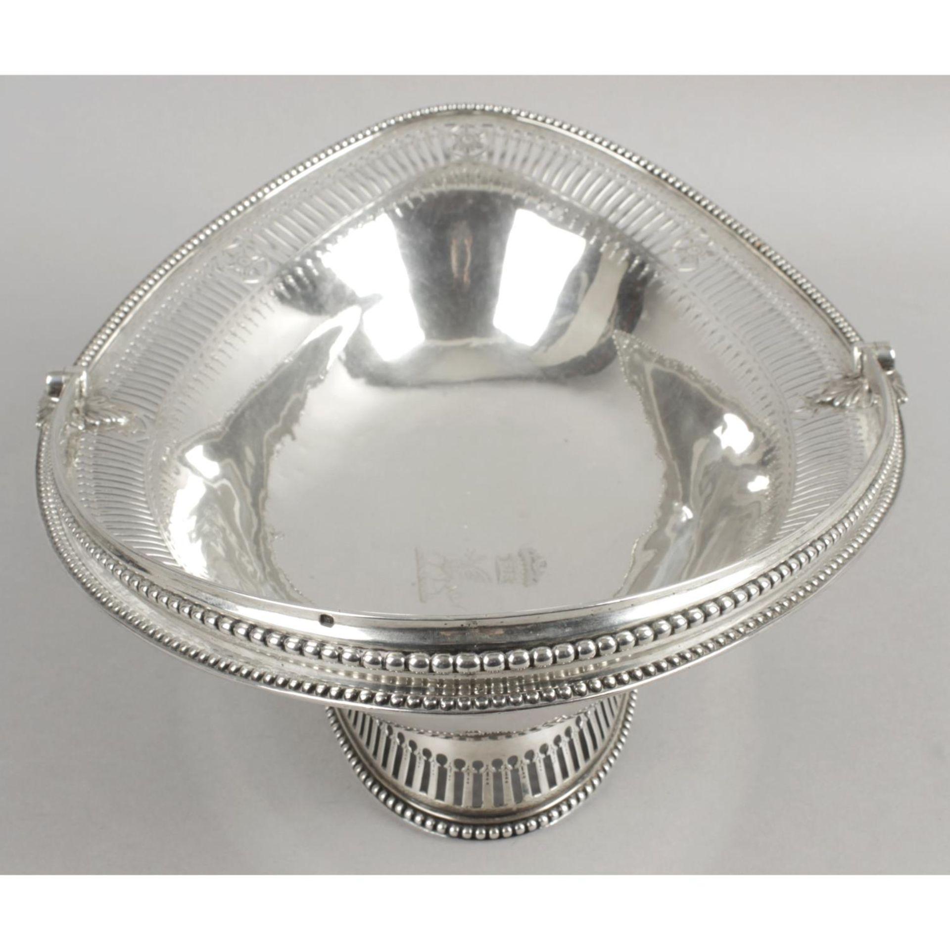 A George III silver swing-handled cake basket, - Image 4 of 6