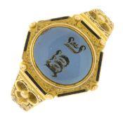 A mid Victorian 15ct gold sardonyx and enamel signet ring.Hallmarks for Birmingham,