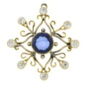 An early 20th century gold synthetic sapphire and brilliant-cut diamond pendant.Estimated total