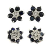 Two pairs of sapphire and diamond stud earrings and a single ruby and diamond earring.One with