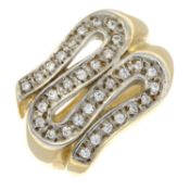 A 9ct gold diamond dress ring.Estimated total diamond weight 0.45cts.Ring size L.