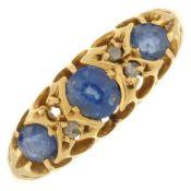 Edwardian 18ct gold sapphire and diamond ring.