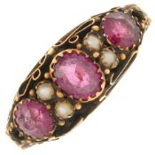 A mid Victorian 15ct gold garnet and split pearl ring.