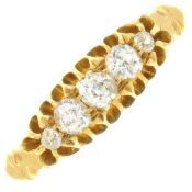 An Edwardian 18ct gold old-cut diamond five-stone ring.Estimated total diamond weight 0.30ct,