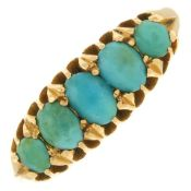 An early 20th century 18ct gold turquoise five-stone ring.