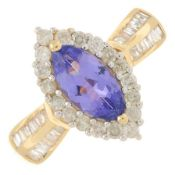 A tanzanite and vari-cut diamond cluster ring.Estimated total diamond weight 0.50ct.Stamped