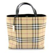 BURBERRY - a Nova Check coated canvas tote handbag.